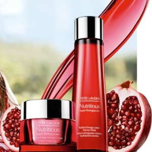 Choose Free 7-Piece Gift+ Advanced Night Repair Trio with $75+ Nutritious Super-Pomegranate purchase @ Estee Lauder