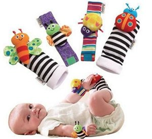 Blige SMTF Cute Animal Soft Baby Socks Toys Wrist Rattles and Foot Finders