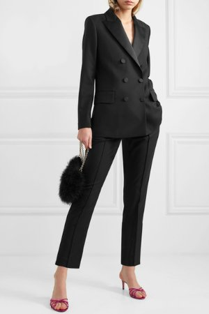 Racil | Casablanca double-breasted satin-trimmed wool blazer | NET-A-PORTER.COM