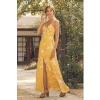 亮黄色简约开叉连衣裙 秀出你的大长腿