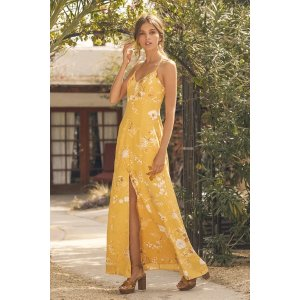 Crista Yellow Print Button-Front Maxi Dress