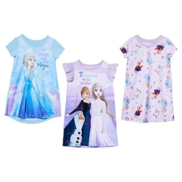 女小童冰雪奇缘睡裙3件套