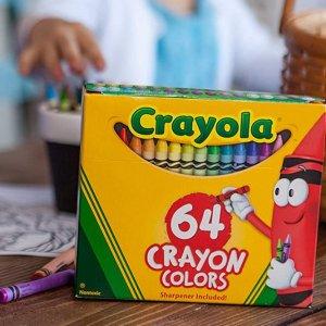 $1.97(原价$3.91) 凑单佳品史低价:Crayola 儿童绘画蜡笔64色 安全无毒 绚丽多彩