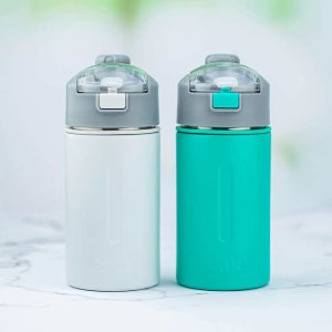 Zak Designs Genesis Versa Stainless Steel Water Bottle 2-pack with 2-in-1 Lid