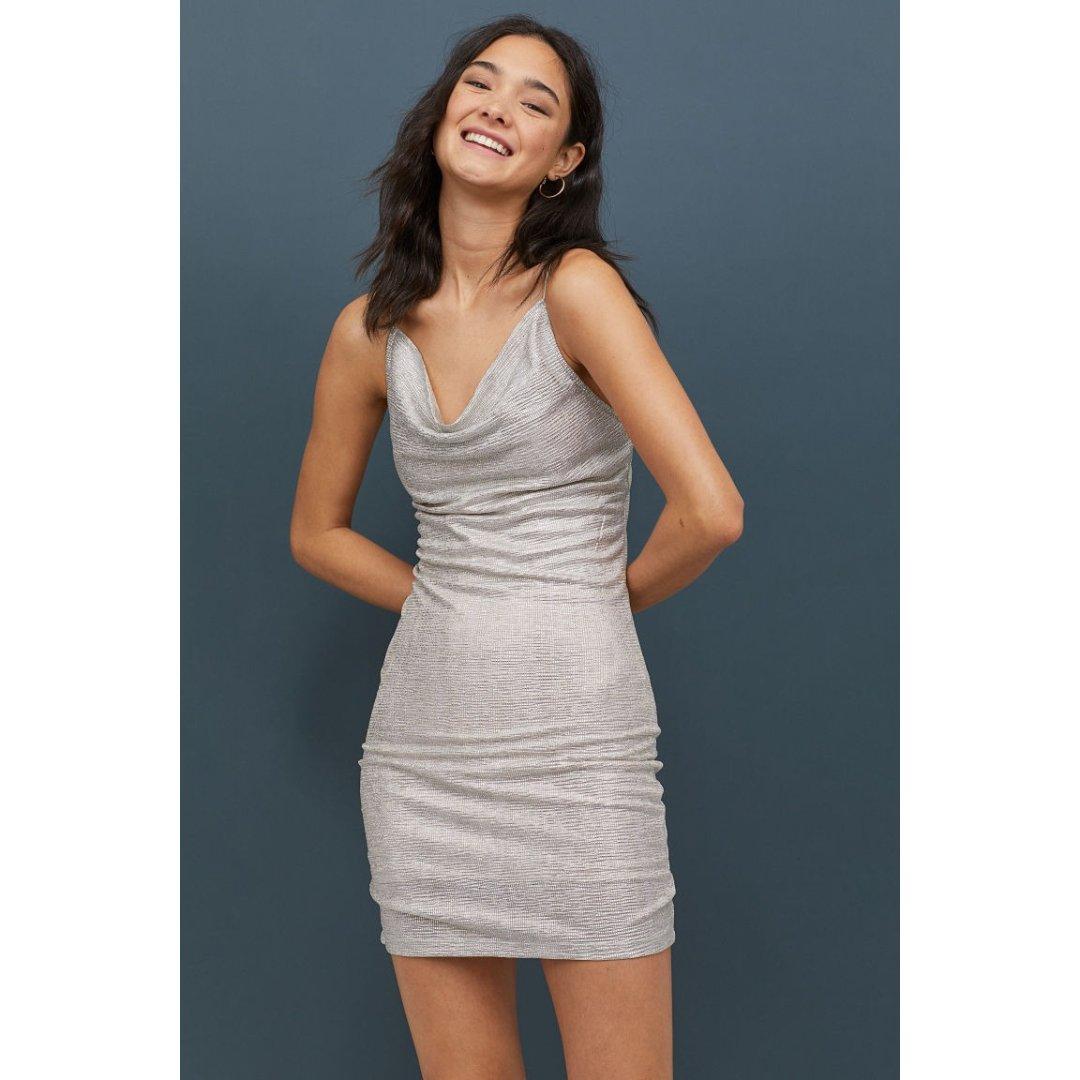 金属光泽质感连衣裙