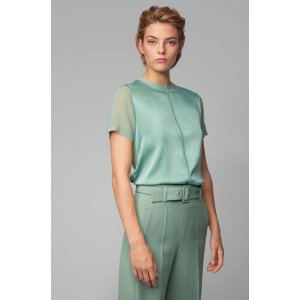 Regular-fit jersey top with stretch-silk front