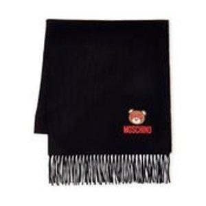 Moschino黑色小熊羊绒围巾