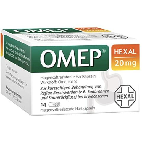 14粒售价€10.06 一粒24小时有效Omep Hexal 20 mg 抑制胃酸胶囊 即时起效 对抗胃灼热