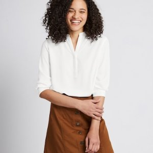 WOMEN RAYON STAND COLLAR 3/4 SLEEVE BLOUSE | UNIQLO US
