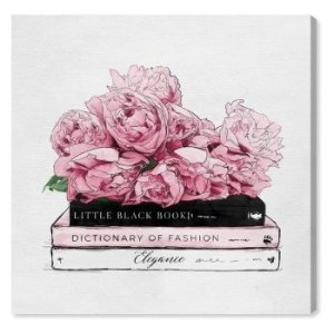 Oliver GalRoses And Elegance Books Canvas Art