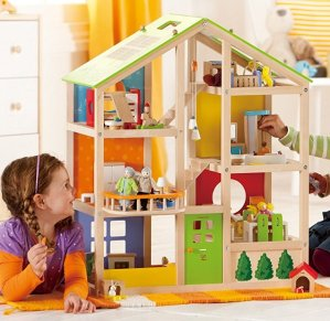 Hape All Seasons Kids Wooden Doll House Furnished With Accessories