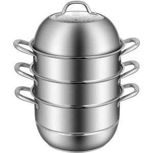 VIVOHOME 3-Tier 11 Inch 8.5Qt 304 Stainless Steel Steamer Pot