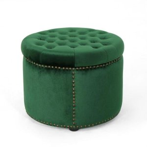 Tiernan Glam Round Tufted Emerald Velvet Ottoman with Stud Accents