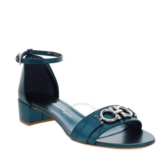 孔雀蓝凉鞋