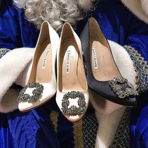 最高送$700礼卡Manolo Blahnik 美鞋热卖 入手可甜可御超美钻扣高跟鞋