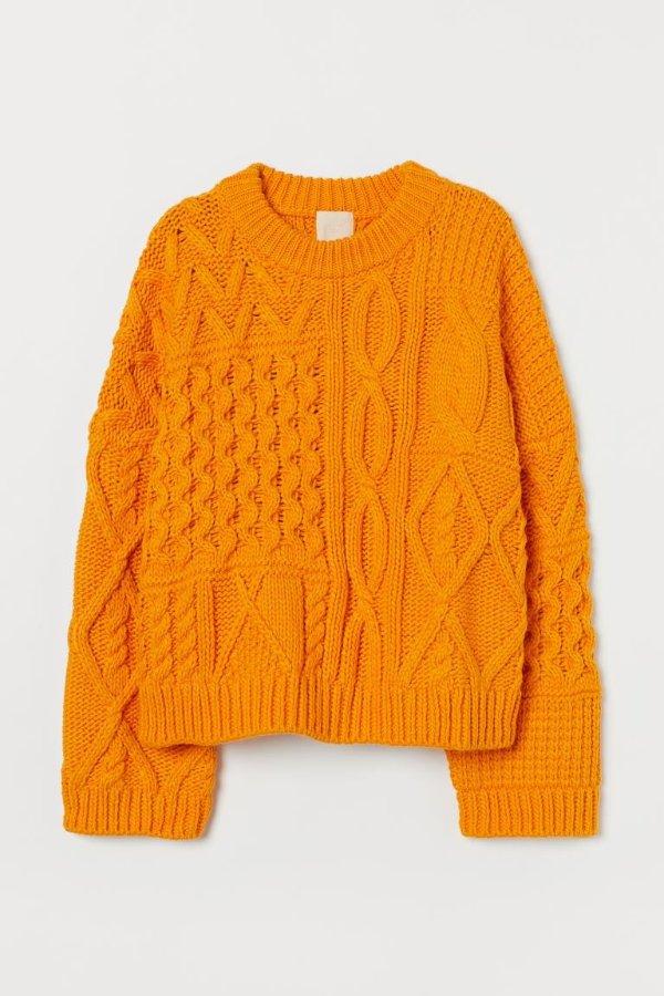 橘色针织毛衣