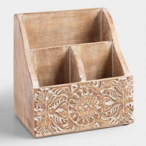 Free ShippingMini Hand-Carved Wood Gianna Desk Organizer