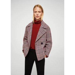 MangoCheckered wool-blend coat