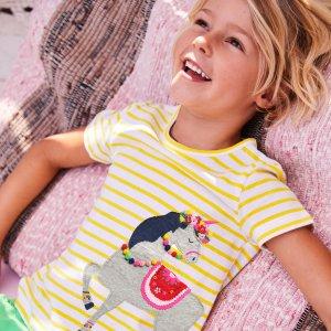 $13.5起 可爱炸啦即将截止:Mini Boden 儿童T恤等上衣7.5折闪购,好折扣重返