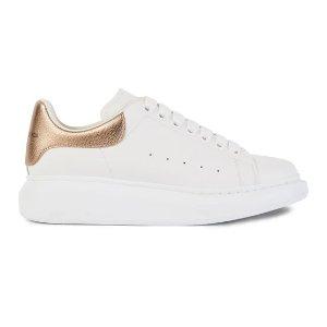 Alexander McQueen变相5折 HR定价$720玫瑰金尾小白鞋