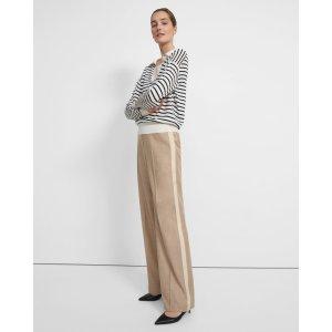 TheoryWide Leg Pull-On Pant in Sleek Flannel Melange
