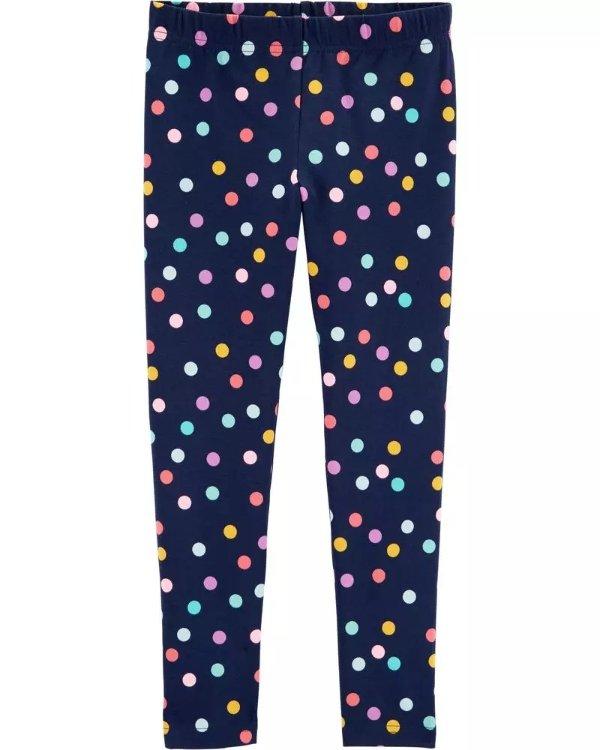 小童彩色波点打底裤