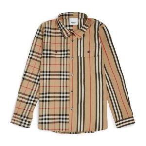 低至7折 封面款不对称衬衫仅£94Burberry大童折扣狂欢上线 好价好码不容错过
