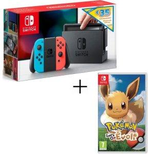 €294.99 比Amazon价格更低Nintendo Switch 红蓝机含€35 eshpo礼券+精灵宝可梦 Let's Go 伊布