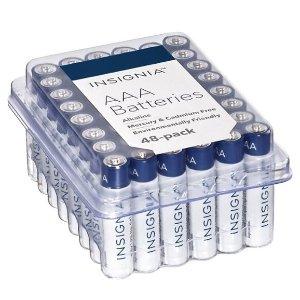 $9.99Insignia AAA 7号、AA 5号 碱性电池 48颗