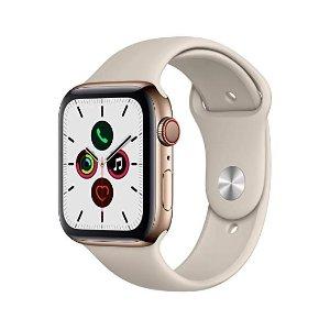 Apple 5系手表 金色不锈钢表盘+运动型表带 44mm