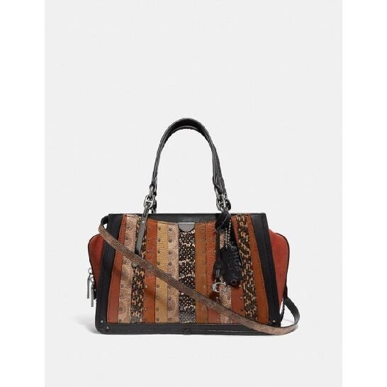 Signature Canvas Patchwork Stripes And Snakeskin Detail Dreamer Bag