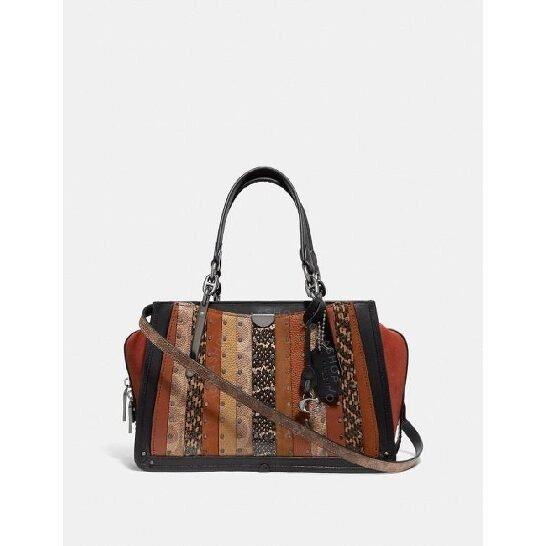 Signature Canvas Patchwork Stripes And Snakeskin Detail Dreamer Bag
