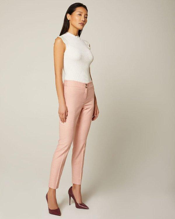 桃粉色修身裤