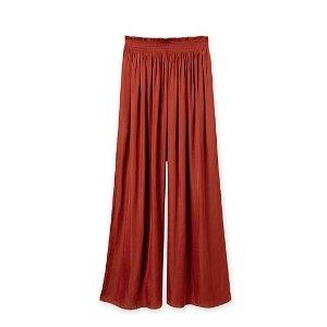 红色阔腿裤
