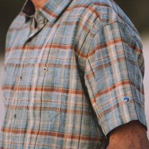 男款短袖格纹衬衫