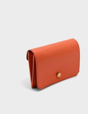 Orange Reversible Flap Card Holder   CHARLES & KEITH