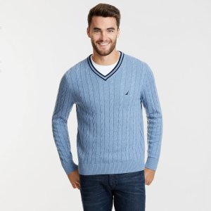 20% Off When You Buy $75The Varsity Cable-Knit V-Neck Sweater