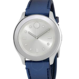 Extra $50 OffMOVADO Bold Silver Dial Blue Rubber Watch