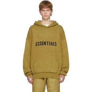 EssentialsXXS, XL, XXL卡其色针织连帽衫