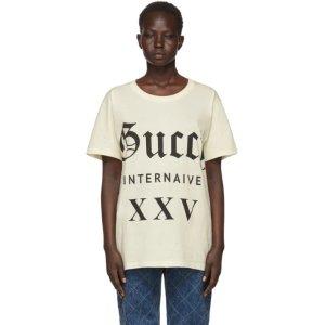 Gucci- Beige 'Guccy Internaive XXV' T-Shirt