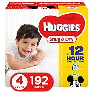 Amazon.com: HUGGIES Snug & Dry Baby Diapers, Size 4 (fits 22-37 lbs.), 192 Count, Economy Plus Pack  (Packaging May Vary): Health & Personal Care