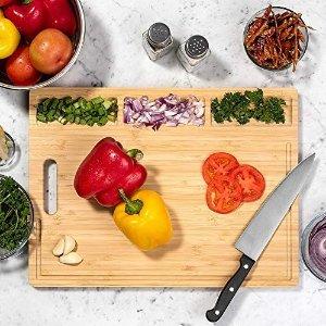 HHXRISE Large Organic Bamboo Cutting Board For Kitchen,