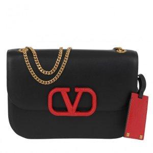 Valentino小号黑色红V logo单肩包