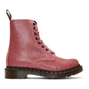 粉色亮片马丁靴