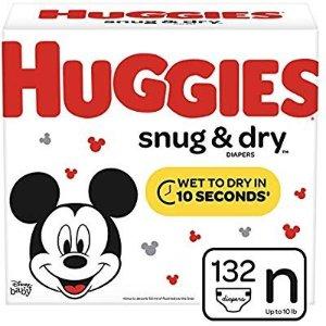 额外5折 折后$13.29 相当于$0.11/片HUGGIES 好奇Snug & Dry 婴儿尿布, 尺寸Newborn (适合最大10 lb.), 132片