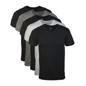 Gildan Men's Assorted V-Neck T-Shirts 5 Pack