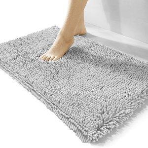 """Lunoku 豪华雪尼尔浴室地毯 15""""x23"""""""