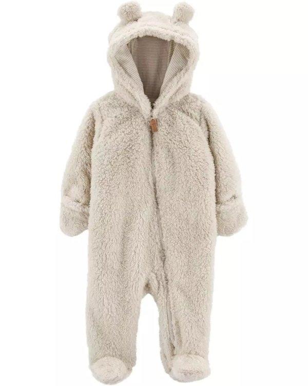 婴儿羊羔绒包脚连体外套