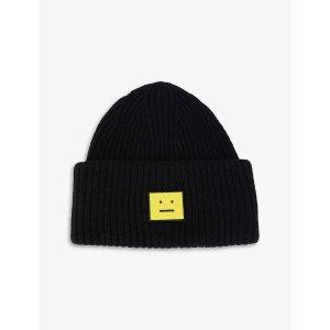 Acne StudiosFace logo-patch wool beanie hat