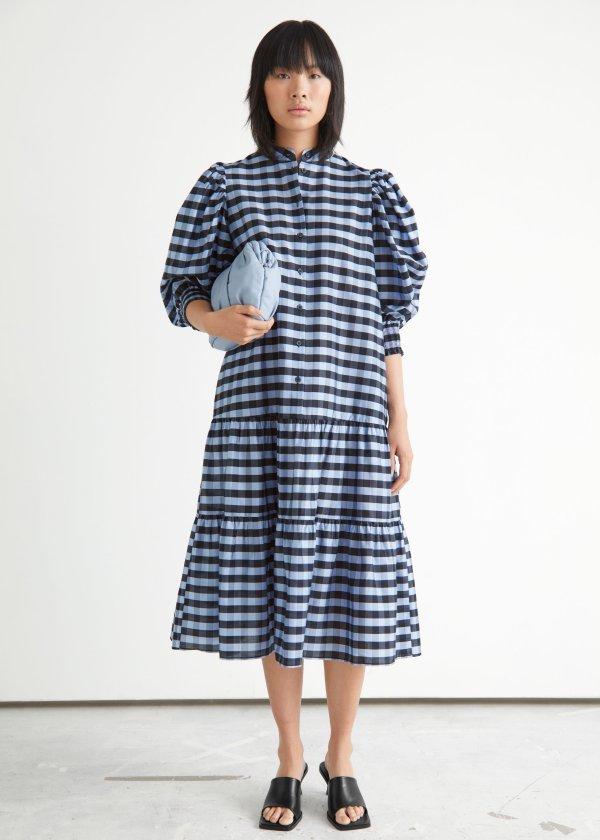 宽松格纹连衣裙